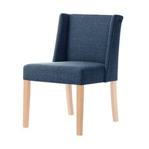 Denimová modrá stolička s hnedými nohami Ted Lapidus Maison Zeste
