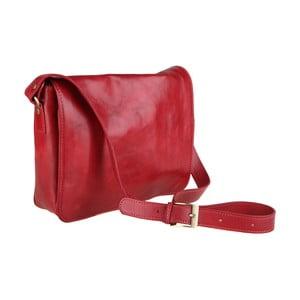Červená kožená kabelka Chicca Borse Norma