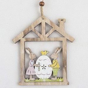 Drevená závesná dekorácia Dakls Easter Owl In House