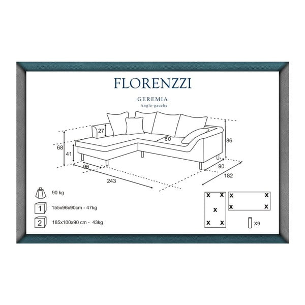 Tmavosivá pohovka Florenzzi Geremia s leňoškou na ľavej strane