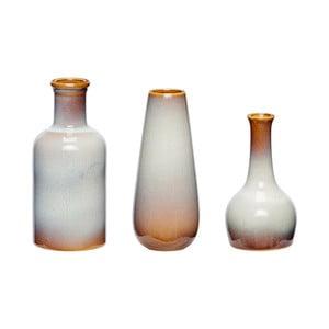 Sada 3 hnedo-bielych keramických váz Hübsch Frej