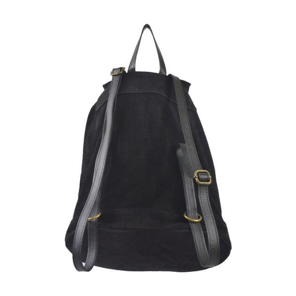 Čierny kožený batoh Chicca Borse Georgia
