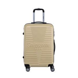 Cestovný kufor na kolieskách v béžovej farbe s kódovým zámkom SINEQUANONE Trimy, 71 l