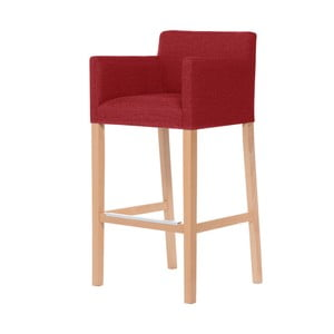 Červená barová stolička s hnedými nohami Ted Lapidus Maison Sillage
