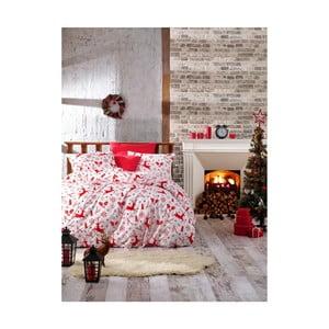 Vianočné bavlnené obliečky na dvojlôžko s plachtou Valentina, 200×220 cm
