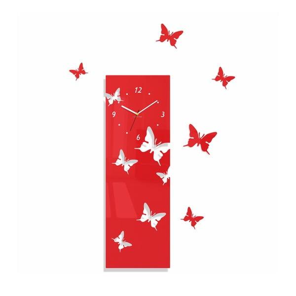 Hodiny z plexiskla Butterflies Away Red