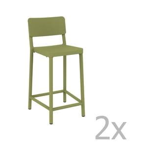 Sada 2 zelených barových stoličiek vhodných do exteriéru Resol Lisboa Simple, výška 92,2 cm