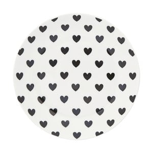 Keramický tanier Miss Étoile Black Hearts, ⌀17 cm