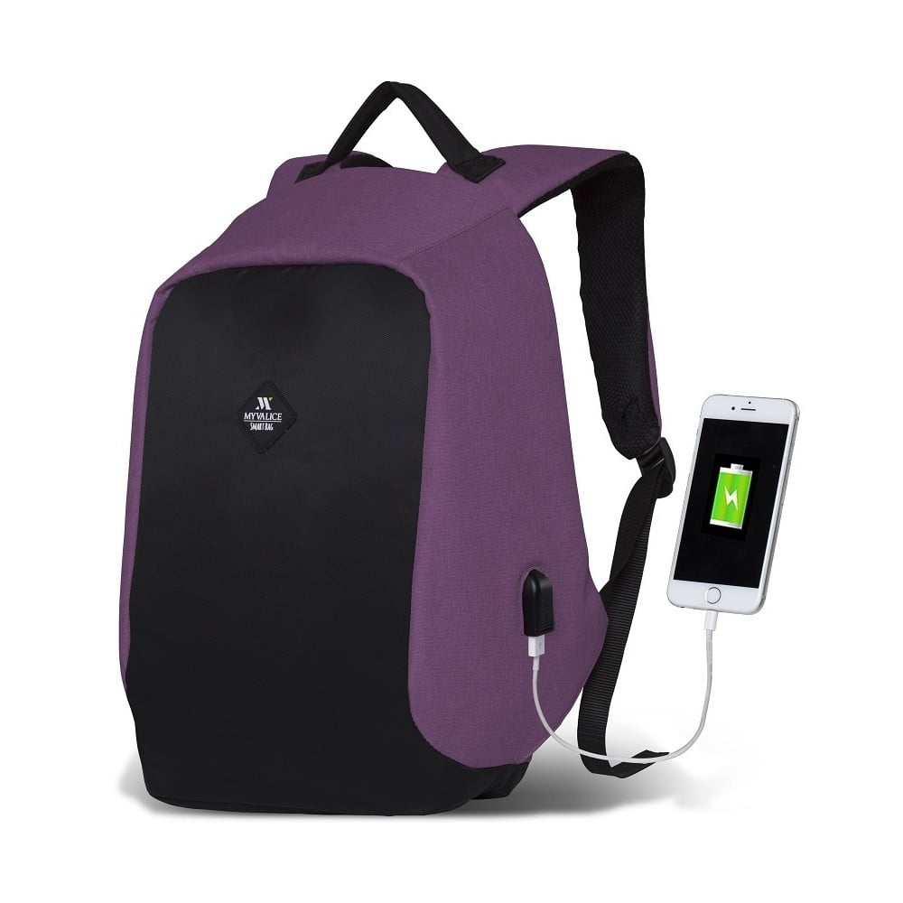 Čierno-fialový batoh s USB portom My Valice SECRET Smart Bag