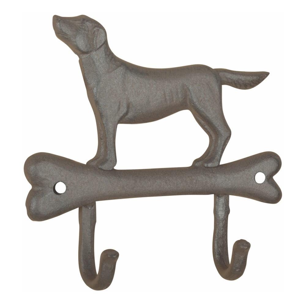 Liatinový nástenný háčik s motívom psíka a kosti Esschert design