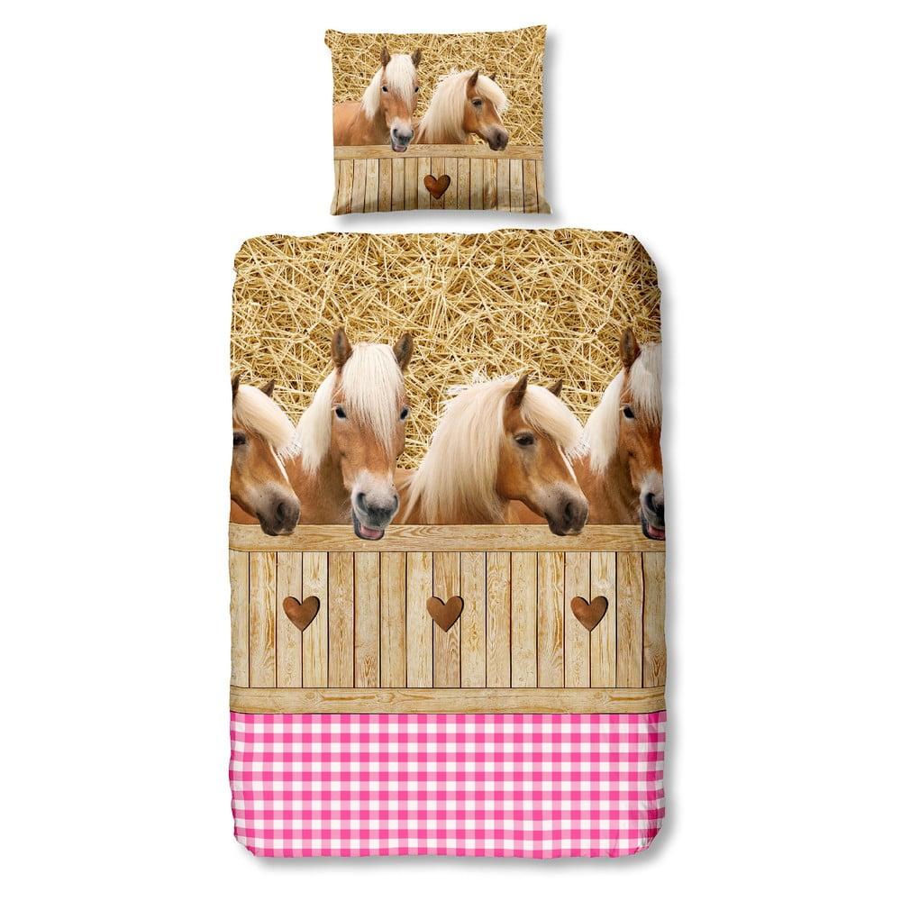 Ružové detské obliečky na jednolôžko z bavlny Good Morning Horses, 140 × 200 cm