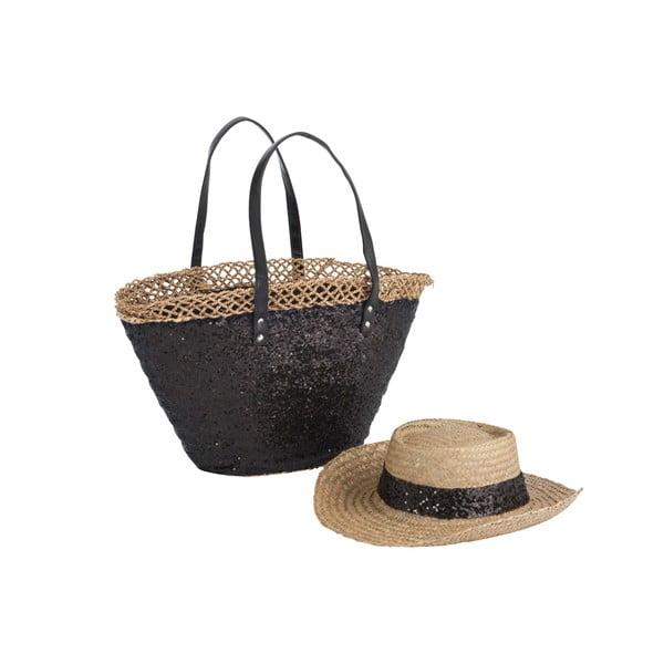 Plážová taška so slameným klobúkom Spangle Black