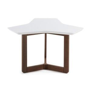 Biely odkladací stolík s tmavými nohami La Forma Triangle