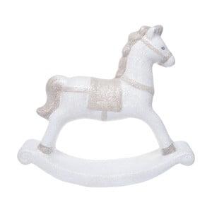 Biely keramický dekoratívny hojdací koník Ewax, výška 18,7 cm