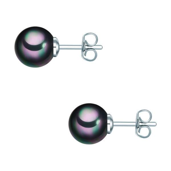 Náušnice s antracitovočiernou perlou Perldesse Muschel,⌀8 mm