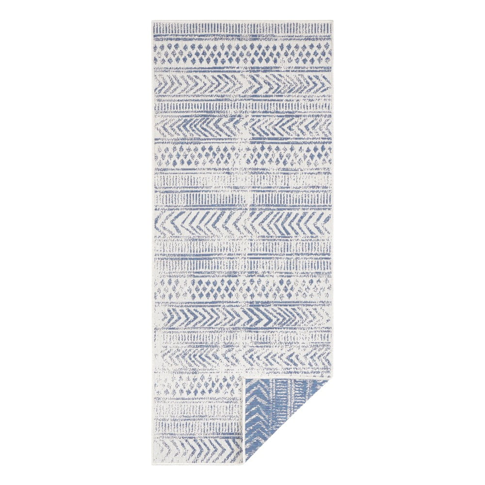 Modro-krémový vonkajší koberec Bougari Biri, 80 x 350 cm