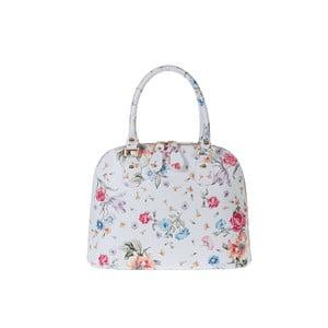 Biela kožená kabelka s kvetinovou potlačou Pitti Bags Bonita