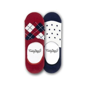Sada 2 párov nízkych ponožiek Funky Steps Dots, veľkosť 39 - 45