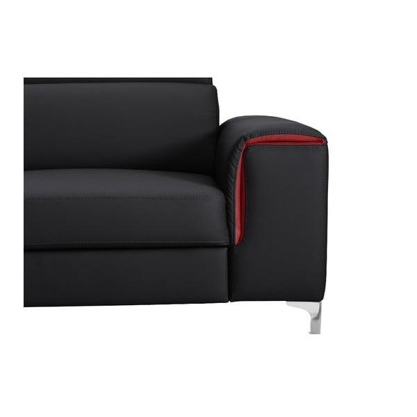 Čierno-ružová pohovka Modernist Serafino, pravý roh
