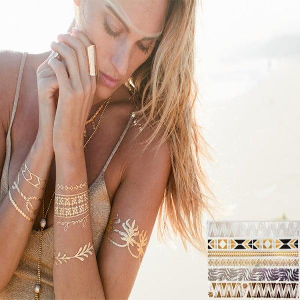 Metalické dočasné tetovanie Bracelets
