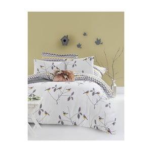 Obliečky s plachtou na dvojlôžko z ranforce bavlny Mijolnir Pavlina White, 200 × 220 cm