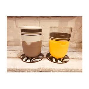 Sada 2 hrnčekov na latté s podnosom a sivým silikónovým krytom Silly Design Take A Break