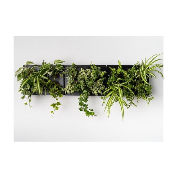 Vertikálny kvetináč HOH! s neviditeľným stojanom Trio Smart Nero, 83x38 cm