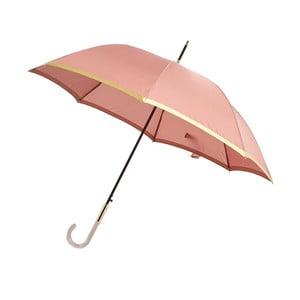 Svetloružový dáždnik s detailmi v zlatej farbe Lurex, ⌀101 cm