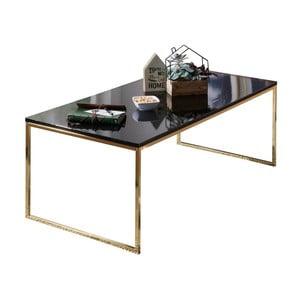 Čierny konferenčný stôl s nohami v zlatej farbe Skyport Riva, 120 × 60 cm