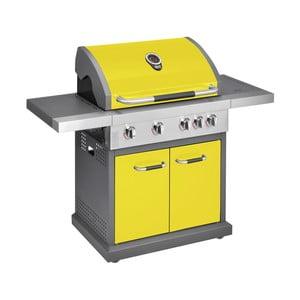 Žltý plynový gril so 4 samostatne ovládateľnými horákmi, teplomerom a bočným ohrievačom Jamie Oliver Pro
