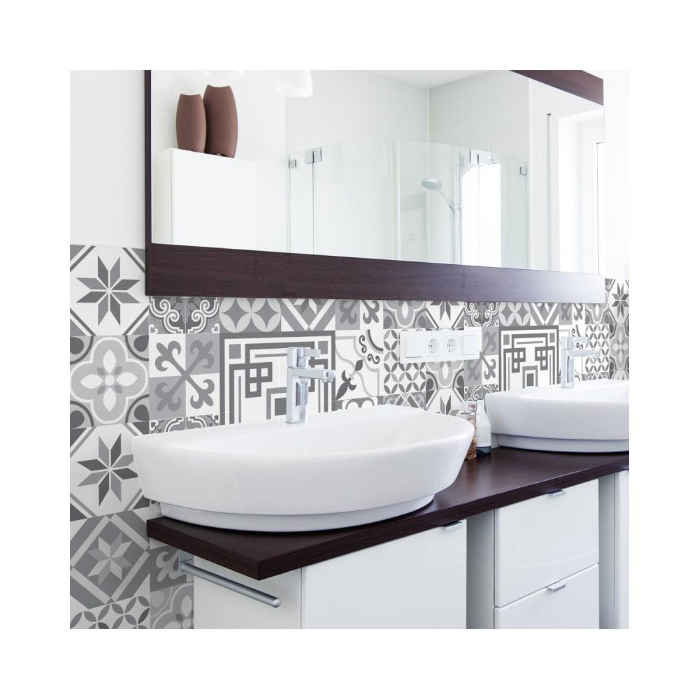 Sada 30 nástenných samolepiek Ambiance Wall Stickers Cement Tiles Azulejos Marco, 10 × 10 cm