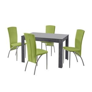 Set jedálenského stola a 4 zelených jedálenských stoličiek Støraa Lori Nevada Slate Green