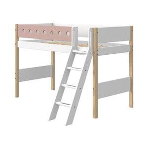 Ružovo-biela detská posteľ s rebríkom a nohami z brezového dreva Flexa White, výška 143 cm