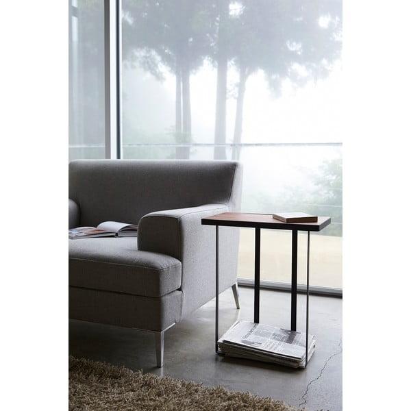 Čierny stolík so stojanom na časopisy Tower Magazine Rack&Table