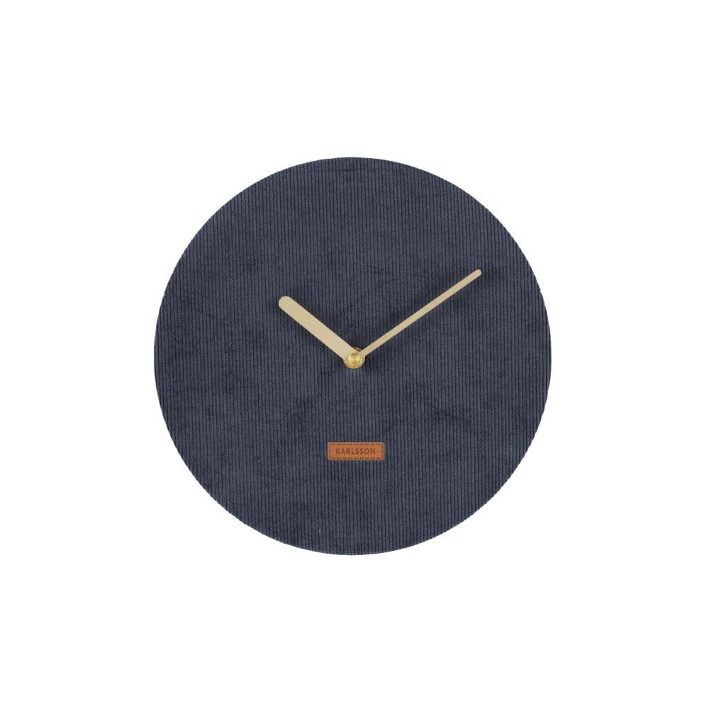 Tmavomodré nástenné hodiny s menčestrom Karlsson Corduroy, ⌀ 25 cm