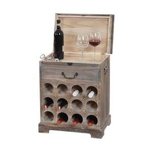 Stojan na 12 fliaš vína Shabby, hnedý