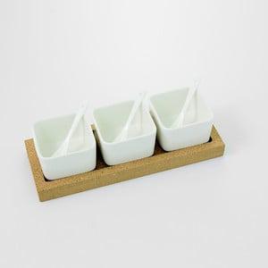 Servírovacie misky s korkovým podnosom Cork, 30 x 11 cm