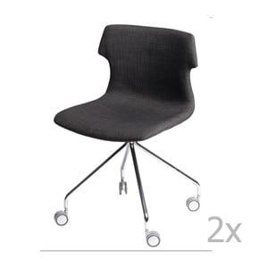 Sada 2 stoličiek D2 Techno Roll, čalúnené, hnedé