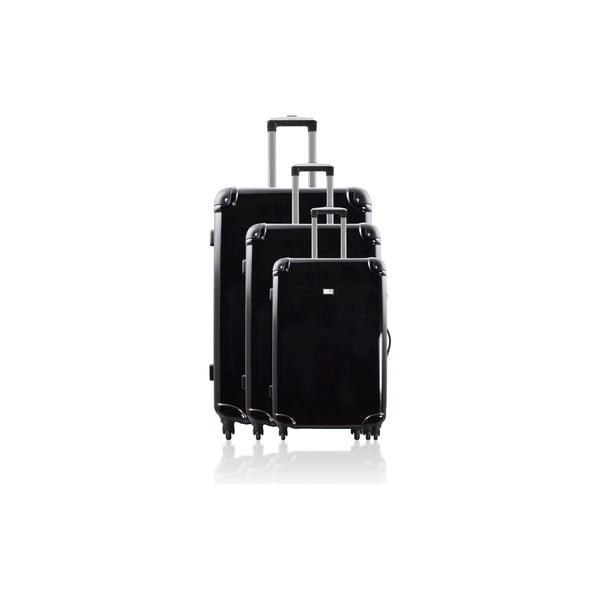 Sada 3 kufrov Integre Full Black, 114 l/75 l/46 l