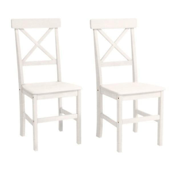 Sada 2 bielych jedálenských stoličiek z borovicového dreva Støraa Nicoline