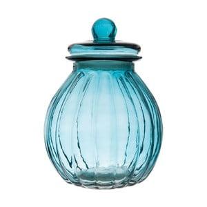 Sklenená dóza Ribbed Blue, 19x26 cm