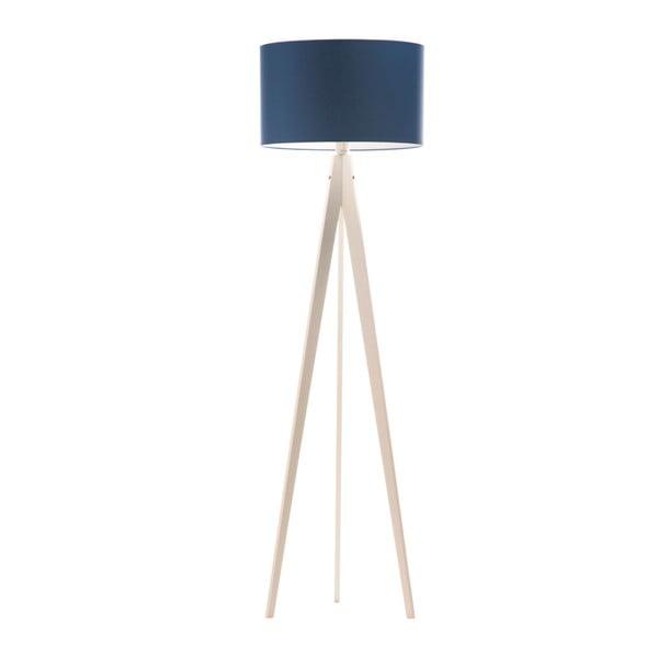 Modrá stojacia lampa 4room Artist, biela lakovaná breza, 150 cm