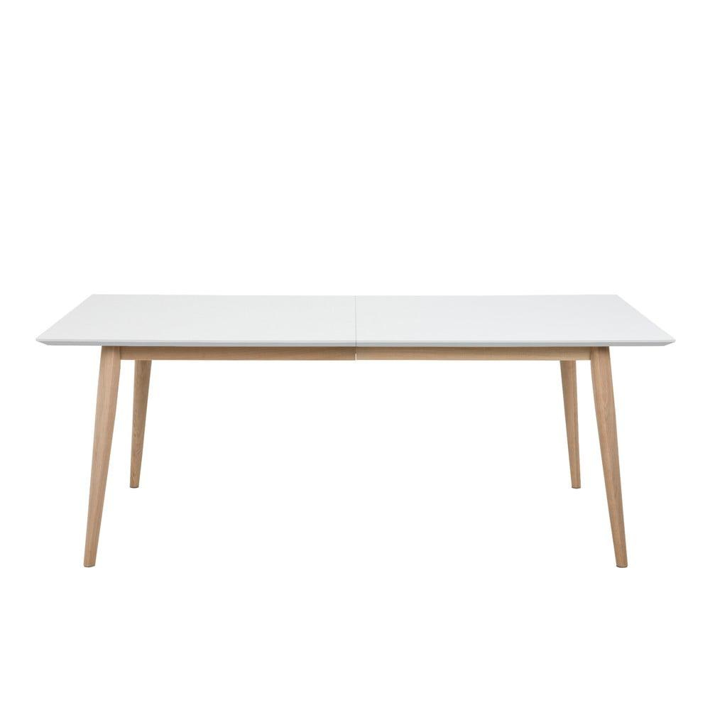 Biely rozkladací jedálenský stôl s podnožím z dubového dreva Actona Century, 200 x 100 cm