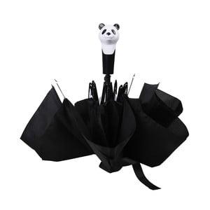 Čierny skladací dáždnik Esschert Design Panda