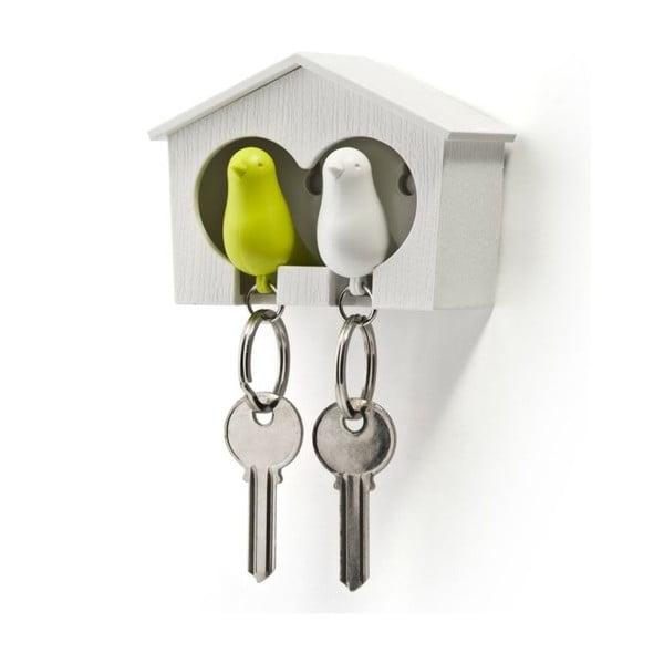 Biely vešiačik na kľúče s bielou a zelenou kľúčenkou Qualy Duoa Sparrow