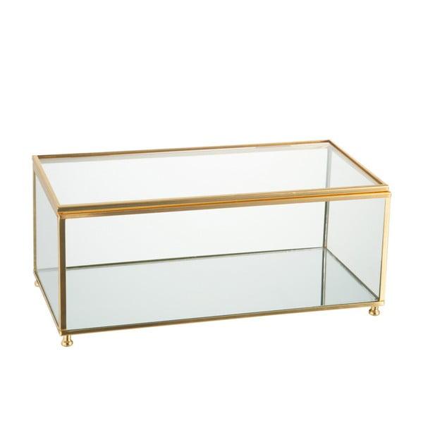Sklenená šperkovnica J-Line Gold, 25x11 cm
