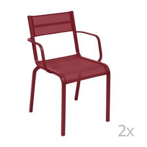Sada 2 červených kovových záhradných stoličiek Fermob Oléron Arms