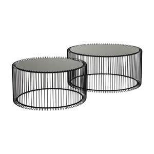 Sada 2 čiernych odkladacích stolíkov Kare Design Wire