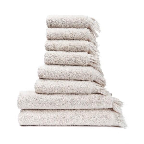 Sada 6 krémových uterákov a 2 osušiek zo 100% bavlny Bonami