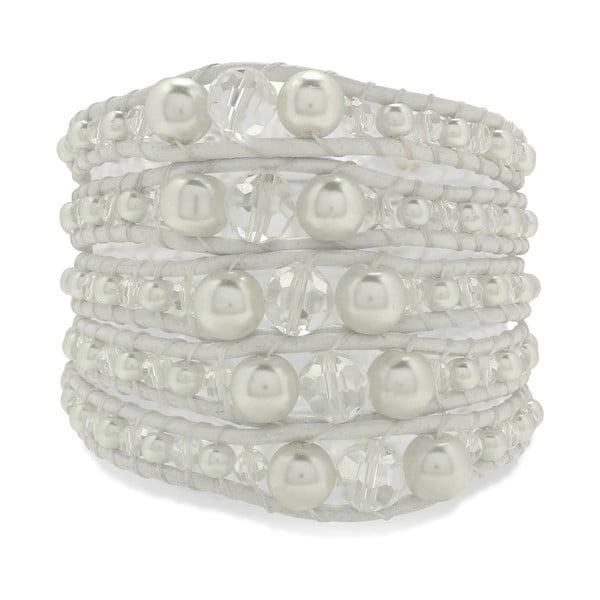 Biely päťradový náramok z pravej kože s perlami Lucie & Jade